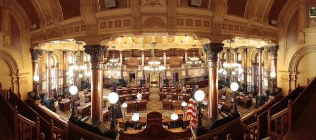 This is a view from the front balcony of the Senate chambers at the Topeka Capitol building. Several images were merged in Photoshop to created the panorama.