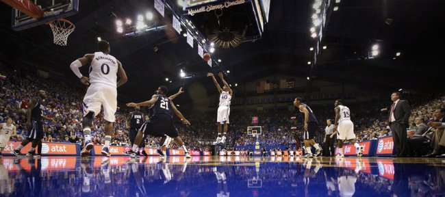 Kansas guard Kevin Young puts up a shot against Howard during the second half Thursday, Dec. 29, 2011 at Allen Fieldhouse.