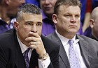 Kansas State head coach Frank Martin, left, and assistant Brad Underwood sit quietly on the bench late in the second half on Wednesday, Jan. 4, 2012 at Allen Fieldhouse.