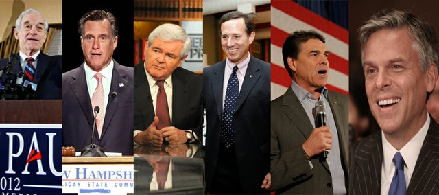 Republican presidential candidates, clockwise from left, Ron Paul, Mitt Romney, Newt Gingrich, Rick Santorum, Rick Perry and Jon Hunstman will compete in the Kansas primary in March. Experts say Kansas could play a bigger role in the selection of the Republican candidate.
