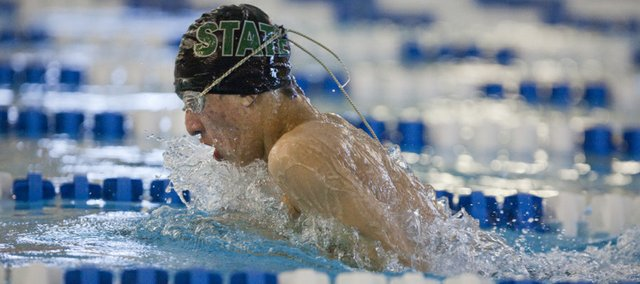 Free State sophomore Kyle Yoder swims in the 200-yard medley relay Thursday at the Free State swim meet.