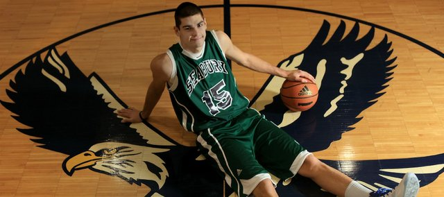 Bishop Seabury senior Georgi Funtarov will debut with the Seahawks against Saint James Academy on Saturday, Jan. 7, 2012. Funtarov, a 6-foot-7 forward, played basketball at Free State last year.