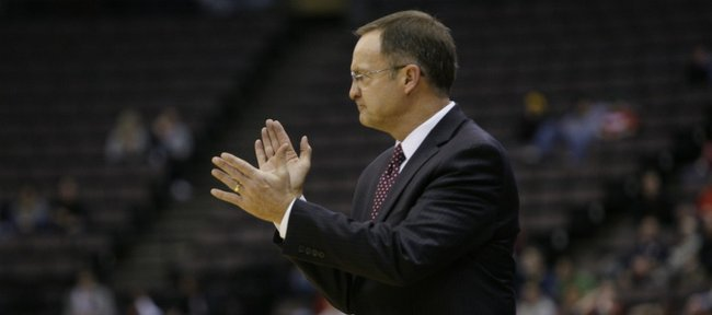 Oklahoma head coach Lon Kruger in action against Cincinnati on Thursday, Dec. 29, 2011, in Cincinnati.