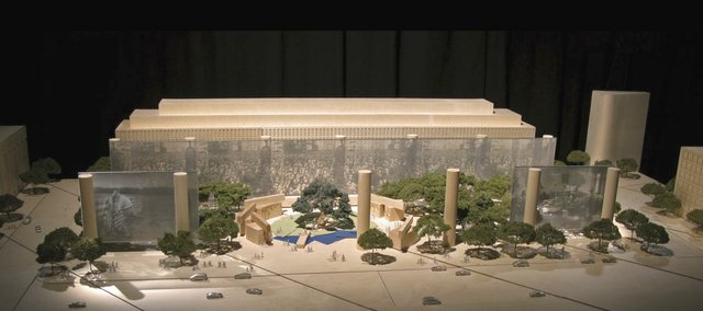 This artist rendering provided by the Eisenhower Commission shows a model for the national memorial to be built in Washington for President Dwight D. Eisenhower. President Dwight D. Eisenhower's family wants to halt the planning of a memorial honoring the 34th president because they object to the design.