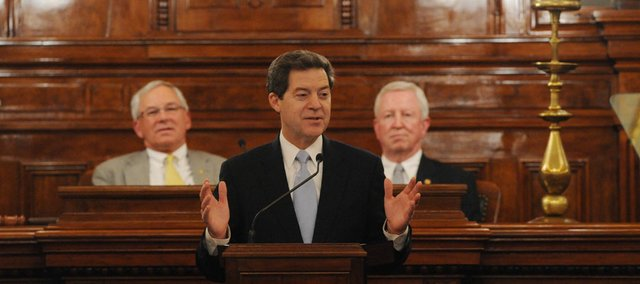 "Gov. Sam Bronwback said ""that the State of our State is strong — and getting stronger,"" as he gave the State of the State address on Wed., January 11, 2012, in Topeka."