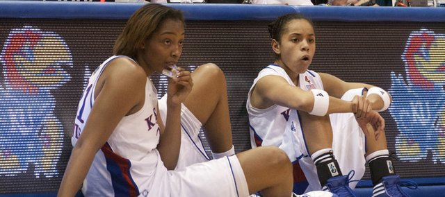 Kansas players Carolyn Davis, left, and Angel Goodrich wait to check into the game against Iowa State on Wednesday, Jan. 11, 2012, at Allen Fieldhouse.