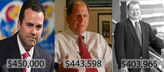 The highest-paid nonprofit leaders in Lawrence are, left to right, Kansas University athletic director Sheahon Zenger, Gene Meyer, CEO of Lawrence Memorial Hospital, and Dale Seuferling, president of KU Endowment. The median salary for a nonprofit leader in Lawrence is $57,000.