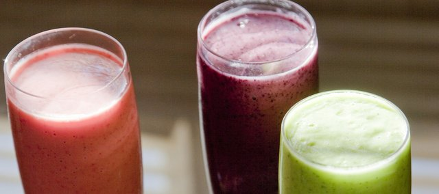 From left are the Spa Smoothie, the Kick Start Smoothie and the Savory Green Smoothie.