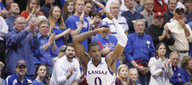 Kansas forward Thomas Robinson raises up the Fieldhouse late in the second half on Monday, Jan. 16, 2012 at Allen Fieldhouse.