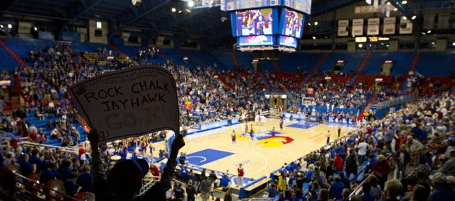 Many fans turned out to watch Kansas women's game against Kansas State on Saturday, Jan. 7, 2012 at Allen Fieldhouse. The Jayhawks fell to the Wildcats, 63-57.