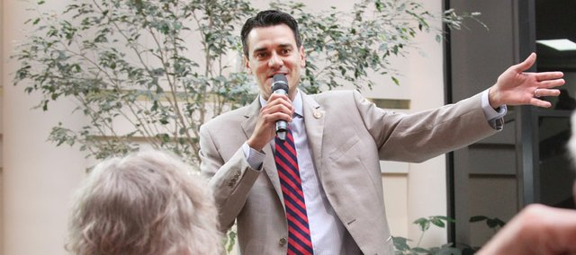 Congressman Kevin Yoder, pictured speaking in Lawrence last June, is now one year into his first term in Congress. Political observers say he is poised for a long political career. Yoder himself says he is focusing on areas where Republicans and Democrats can agree.