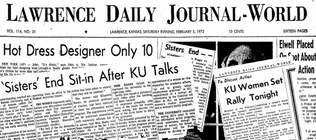 Clippings from the Lawrence Daily Journal-World on Feb. 5 and 7, 1972, chronicle the February Sisters' sit-in. Their protests helped spur the women's movement in Lawrence in the 1970s.