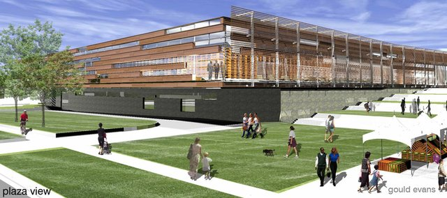 Rendering of Lawrence Public Library plaza view of southwest corner.