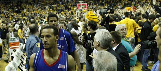 Kansas University guard Travis Releford and the Jayhawks make their way from the court following a 62-60 loss to Missouri in this file photo from Feb. 9, 2009, at Mizzou Arena in Columbia, Mo. The Jayhawks have not lost in Columbia since 2009 and hope to build on the streak Saturday.