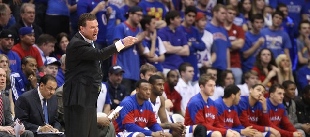Kansas head coach Bill Self yells at an official during the first half on Wednesday, February 1, 2012 at Allen Fieldhouse.