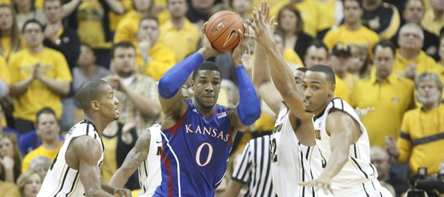 Kansas forward Thomas Robinson is hounded by the Missouri defense during the first half on Saturday, Feb. 4, 2012 at Mizzou Arena.