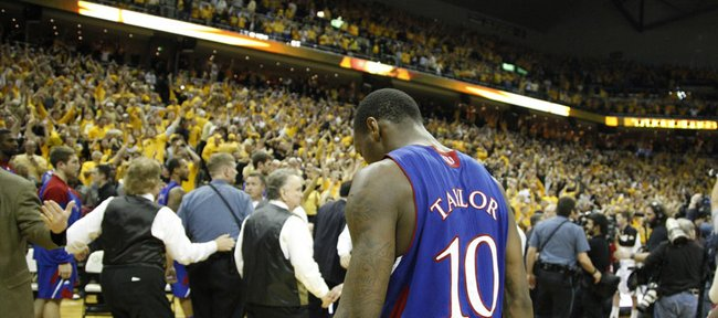 Kansas guard Tyshawn Taylor hangs his head after the loss to Missouri on Saturday, Feb. 4, 2012 at Mizzou Arena.