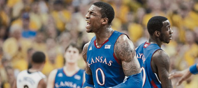 Kansas forward Thomas Robinson lets out a yell of frustration after a missed bucket and an offensive foul by the Jayhawks during the first half against Missouri on Saturday, Feb. 4, 2012 at Mizzou Arena.