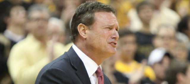 Kansas head coach Bill Self protests a call against the Jayhawks during the second half on Saturday, Feb. 4, 2012 at Mizzou Arena.