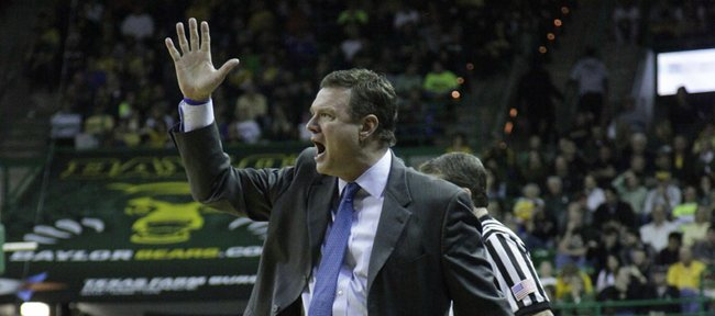 Coach Bill Self yells instructions to his team in the second half of the Jayhawks 68-54 win over the Baylor Bears, Wednesday, Feb. 8, 2012 at Baylor.