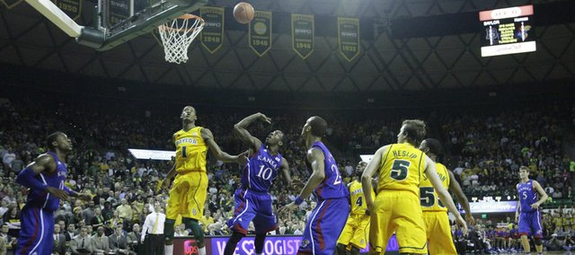 Tyshawn Taylor (10) puts up a floater under the goal in the first half of the Jayhawks game against the Baylor Bears. Taylor scored 19 points in the win.