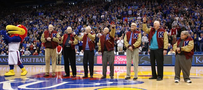 Members of the 1952 Kansas national championship team are honored at half court during halftime on Saturday, Feb. 11, 2012 at Allen Fieldhouse.