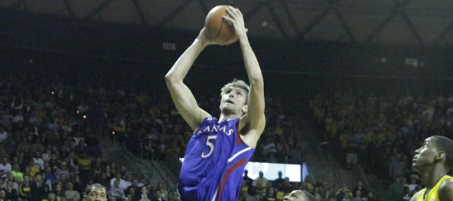 Kansas' Jeff Withey ties the score at 30-30 with his 17th point in the first half during the Jayhawks' game against the Baylor Bears on Wednesday, Feb. 8, 2012 at Baylor.