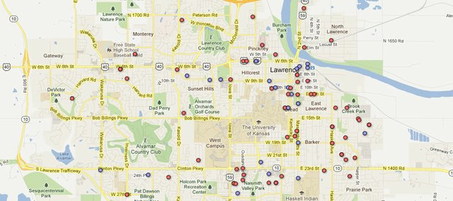 Map of sex crimes reported to Lawrence Police in 2011. Blue dots indicate rapes and the red dots indicate other sex crimes. Locations are approximate block locations and do not reflect a specific address. 21 of the crimes reported either did not have locations, or revealing those locations could have possibly identified the victim. To view a scrollable version of this map, visit http://bit.ly/yy7HyI