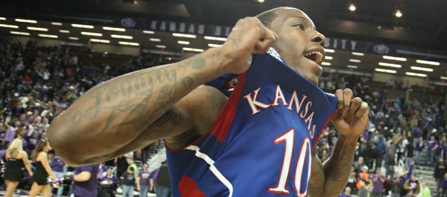 Kansas guard Tyshawn Taylor pops his jersey as he leaves the court following the Jayhawks' 59-53 win over Kansas State on Monday, Feb. 13, 2012 at Bramlage Coliseum.