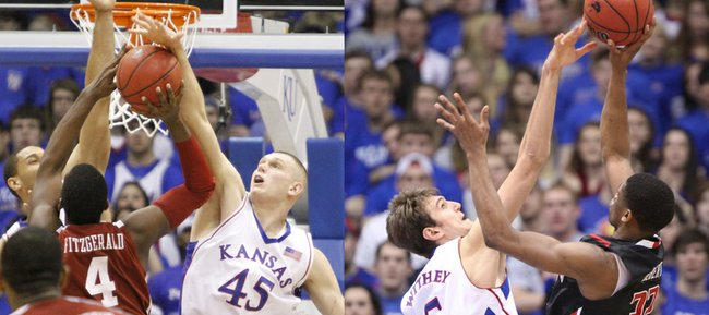 Former Kansas University Center Cole Aldrich (45) and current KU center Jeff Withey (5) are both known for their shot-blocking talents, but fifth-year Jayhawk Conner Teahan says one of his teammates has the upper hand.