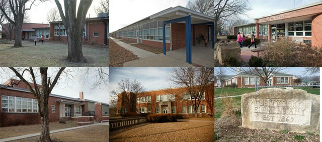 Six Lawrence elementary schools are being considered for consolidation. They are, clockwise from left, Sunset Hill, Kennedy, Hillcrest, New York, Pinckney and Cordley Elementary.