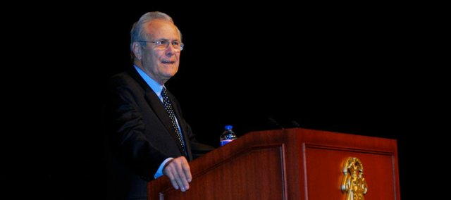 Former U.S. Defense Secretary Donald Rumsfeld spoke Friday at Fort Leavenworth's Lewis and Clark Center to roughly 1,000 U.S. and international officers at the U.S. Army Command and General Staff College.