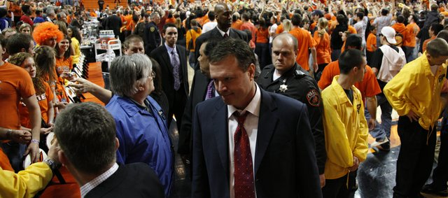Kansas head coach Bill Self leaves the court following the Jayhawks' 85-77 loss to Oklahoma State, Saturday, Feb. 27, 2010 at Gallagher-Iba Arena in Stillwater.
