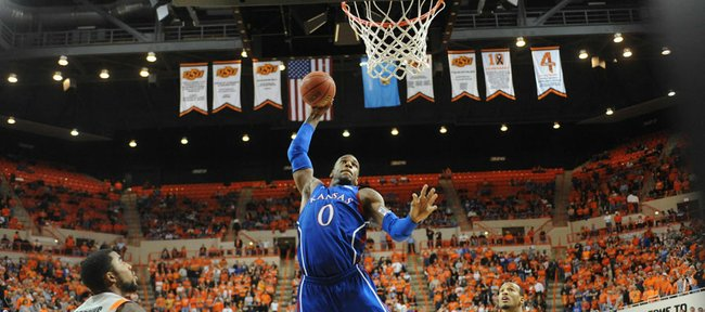 Kansas forward Thomas Robinson goes up for a dunk against Oklahoma State on Monday, Feb. 25, 2012, at Gallagher-Iba Arena in Stillwater, Okla.