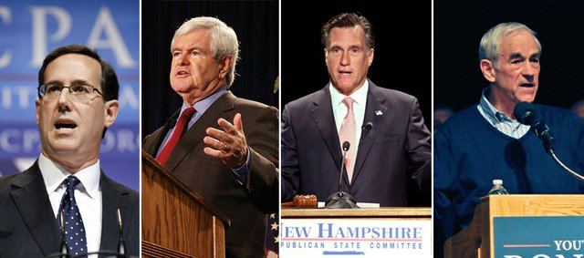 Republican contenders for the presidential nomination will compete in the Kansas caucus Saturday. From left, former Pennsylvania Sen. Rick Santorum, former House Speaker Newt Gingrich, former Massachusetts Gov. Mitt Romney, and Texas Rep. Ron Paul.