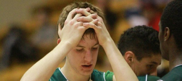 Bishop Seabury's Jesse May shows his disappointment after a first-round Class 1A state tournament game on Wednesday, March 7, 2012, in Emporia.