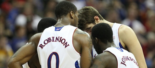 The Jayhawks try to pull it together against Baylor during the second half on Friday, March 9, 2012.