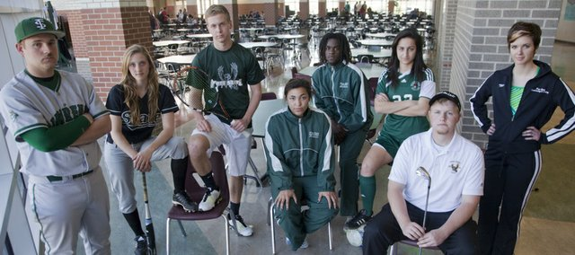Representing spring sports teams at Free State High School from left are Montana Samuels, baseball, Alex Hill, softball, Andrew Craig, tennis, Brie Mingus and Dayshawn Berndt, track, Katie Sarraf, soccer, Colin Becker, golf, and Caroline King, swimming.