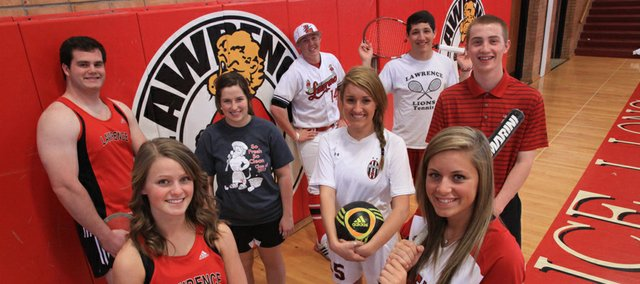 Representing spring sports teams at Lawrence High, at front from left, are Michala Ruder, track; and Lauren Byrn, softball. In middle from left, Blake Hocking, track; Chandler McElhaney, swimming; Merideth Warinner, soccer; and Logan Henrichs, golf. In back, Garrett Cleavinger, baseball; and Matthew Grom, tennis.