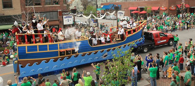 The 25th annual St. Patrick's Day parade included 162 floats on Saturday March 17, 2012. The Sandbar float, which won first place, was one of the last floats up Massachusetts Street.