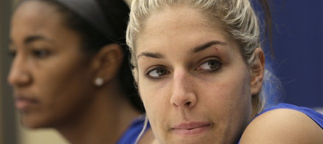 Delaware standout Elena Delle Donne listens to a reporter's question during a news conference Monday, March 19, 2012, in Little Rock Ark., previewing the Kansas-Delaware meeting in the second round of the NCAA Tournament.