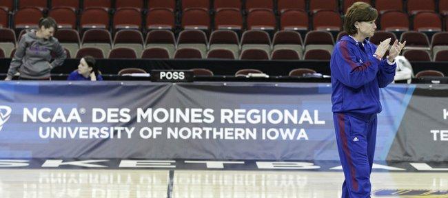 Kansas coach Bonnie Henrickson watches her team during basketball practice, Friday, March 23, 2012, in Des Moines, Iowa.