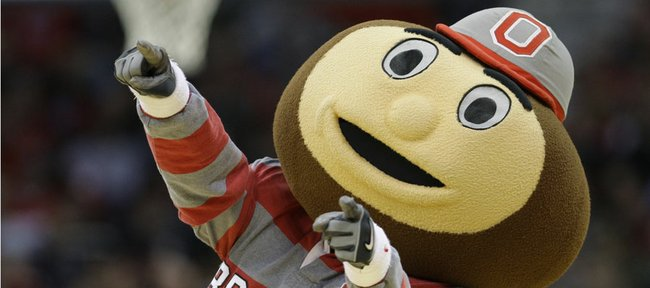 Brutus Buckeye is the Ohio State mascot, seen here performing du