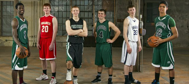 2012 All-Area boys basketball team includes, from left, Khadre Lane, Seabury, Dane Erickson, Tonganoxie, Brett Frantz, Free State, Mason Wedel, De Soto, Nathan Stacy, Mill Valley, Thomas Diaz, Seabury.