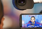 Kansas guard Travis Releford is seen on the LCD screen of a television camera during an interview at the Superdome in New Orleans on Thursday, March 29, 2012.