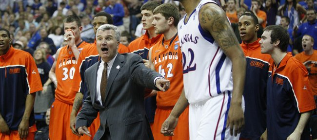 Illinois head coach Bruce Weber tries to convince a game official that a ball was last touched by Marcus Morris during the second half on Sunday, March 20, 2011 at the BOK Center in Tulsa.