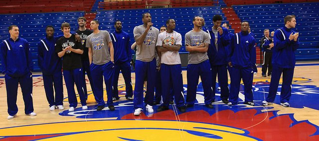 Thomas Robinson gives a short speech to more than 5,000 loyal Jayhawk fans who came to Allen Fieldhouse to welcome the team back from the NCAA tournament in New Orleans on Tuesday, April 3, 2012.