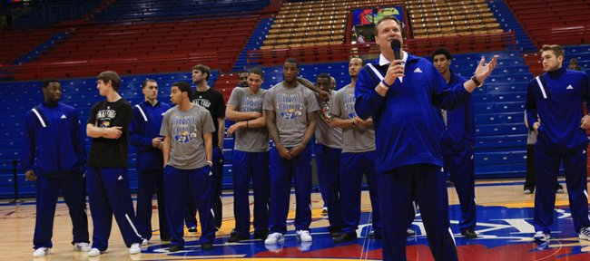 Coach Bill Self tells the crowd how proud he is about the Jayhawks during the return ceremony from the NCAA championship in New Orleans.