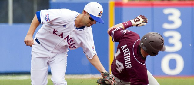 Texas A&M's Scott Arthur slides past the tag of Kansas' Jordan Dreiling as he successfully steals second base during their game Saturday, April 14, 2012, at Hoglund Ballpark