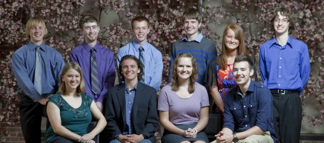 2012 Academic All Stars back row from left are Philip Kaul, Matthew Kelso, Derek Moore, Ruben Ghijsen, Ally Bristol and Parker Riley. Front row from left are Anne Reed-Weston, Louis Joslyn, Charis Fisher and Adam Brien.